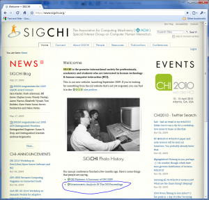 """Scientometric Analysis Of The CHI Proceedings"" on SIGCHI homepage"